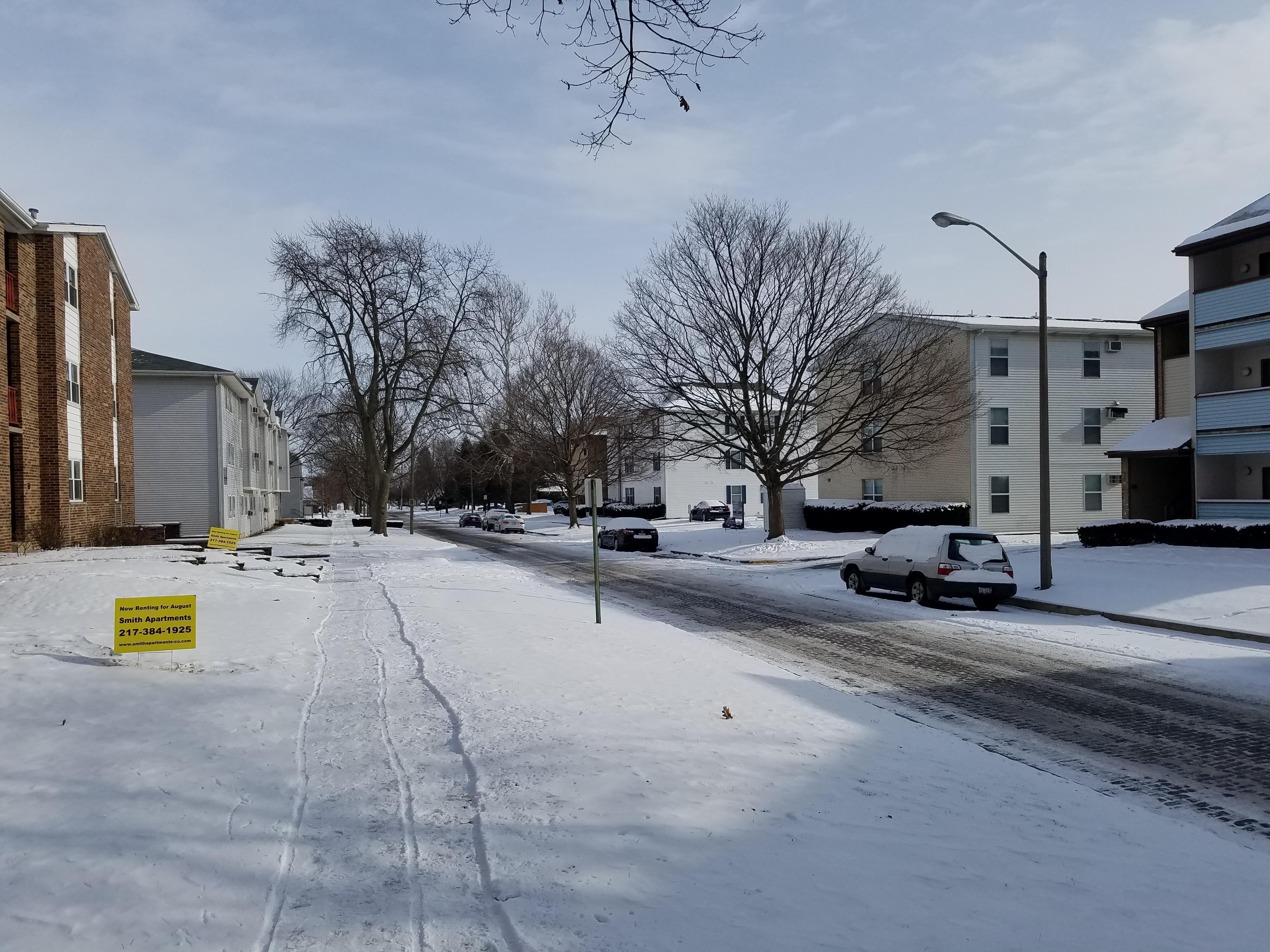 A snowy day on Clark Street in Urbana.