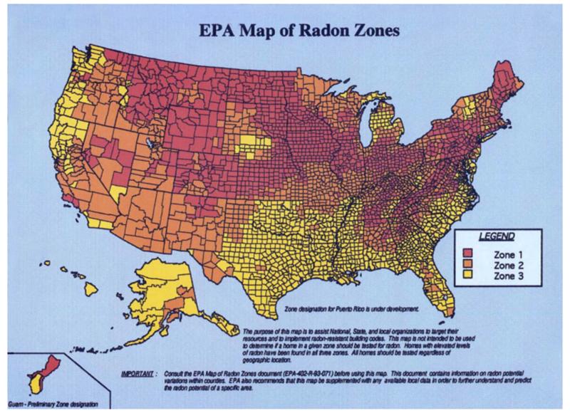 An EPA map showing Radon zones in the U.S.