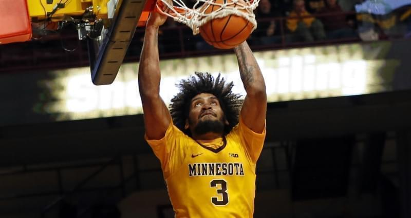 Minnesota's Jordan Murphy dunks against Illinois' in the second half of an NCAA college basketball game Wednesday, Jan. 3, 2018, in Minneapolis.