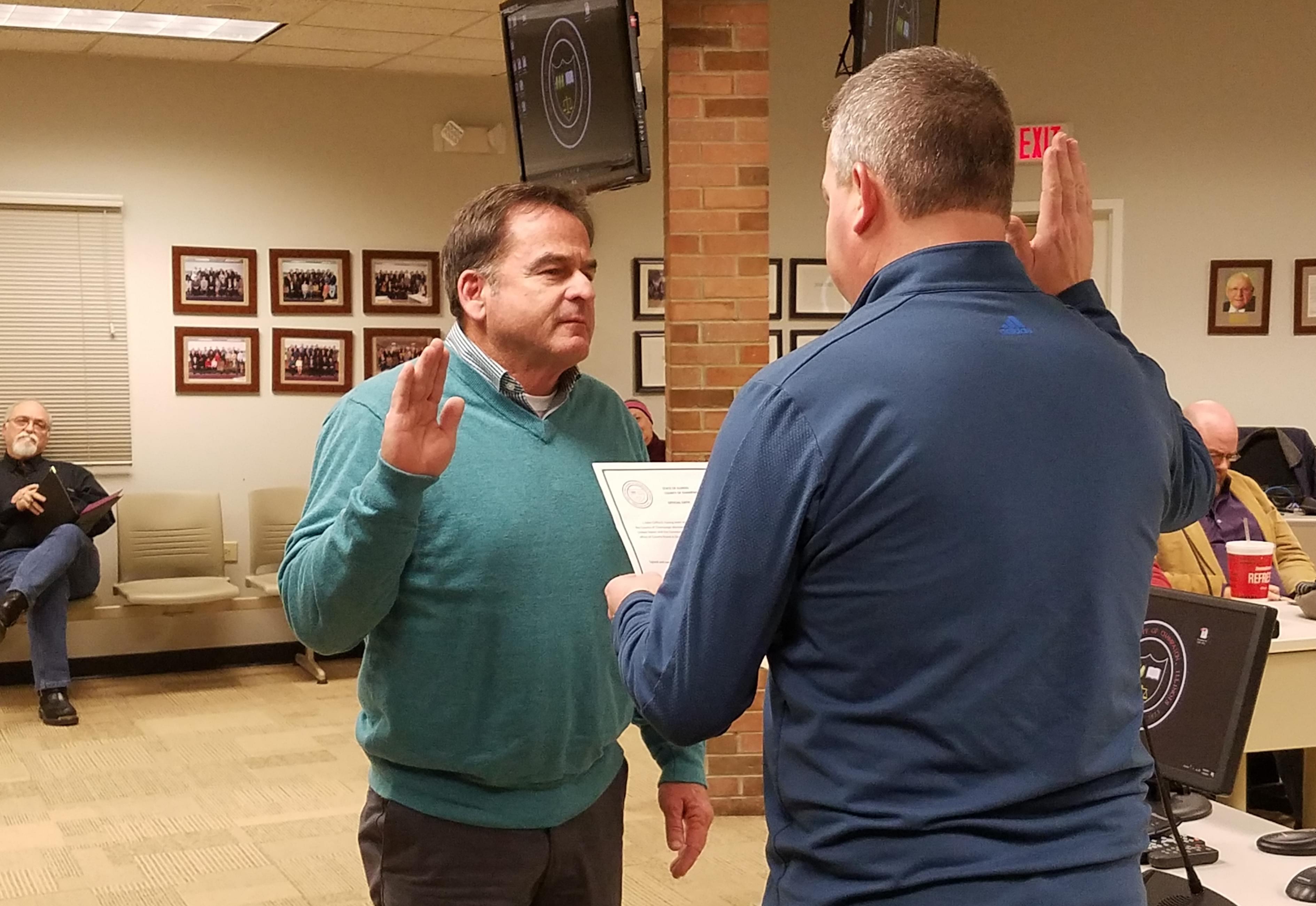 Newly sworn-in Champaign County Board member John Clifford.