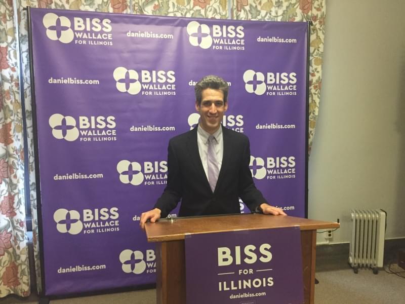Daniel Biss at a podium.