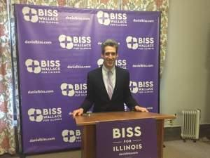 Daniel Biss at a podium.