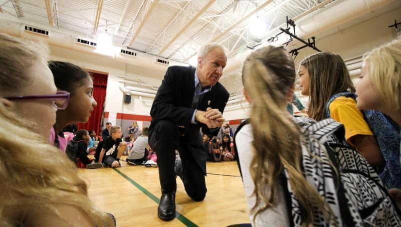 Gov. Bruce Rauner held several celebrations touting the passage of historic school funding reform.