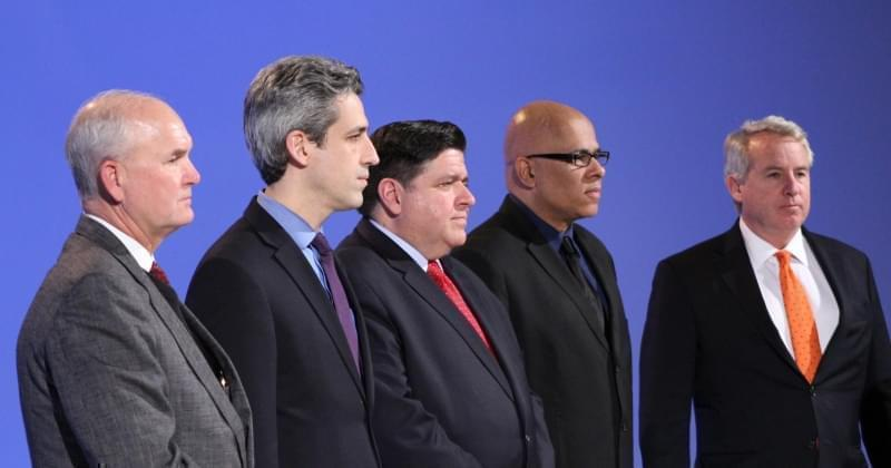 Five of the Democratic candidates for governor spoke at a forum on criminal and economic justice Saturday in Peoria. From left: Bob Daiber, state Sen. Daniel Biss, J.B. Pritzker, Tio Hardiman, and Chris Kennedy.