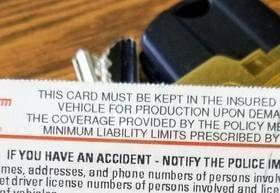 An auto insurance card.