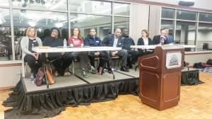 Panelists at a town hall meeting on gun violence, organized by the Champaign Unit 4 PTA Council, at the Illinois Terminal on Wednesday January 17.