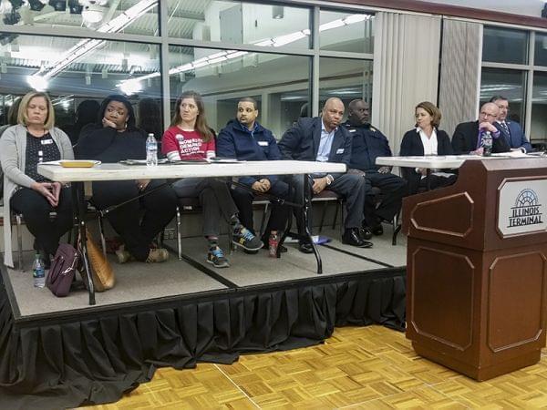 Panelists at a town hall meeting on gun violence