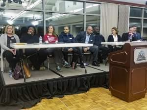 Panelists at a town hall meeting on gun violence