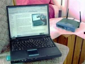 A laptop connected to wireless internet