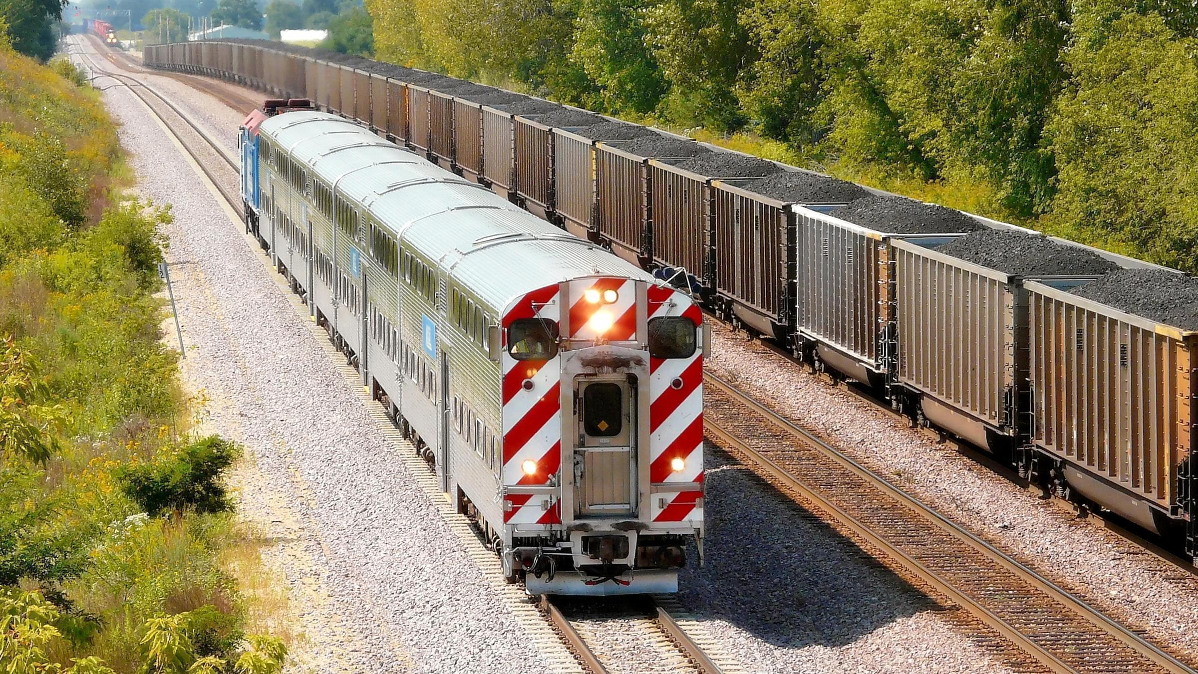 A freight training carrying coal heading for Chicago.