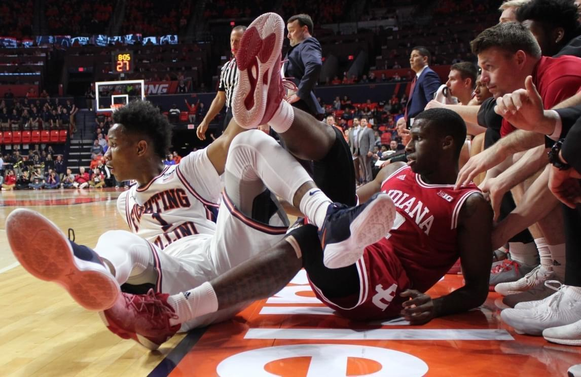 Illinois player Trent Frazier and Indiana player Josh Newkirk