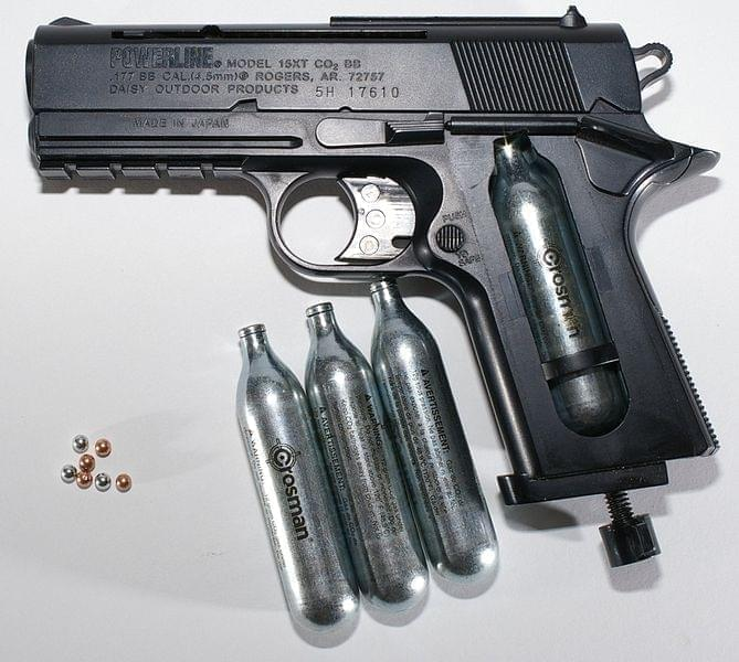 BB gun with CO2 cartridges and pellets.