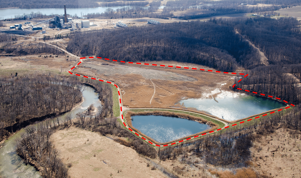 Aerial view of the Dynegy ash pits from the north; Top Left: Vermilion Power Station; Left: Middle Fork; Center (red outline): North Ash Pit. Two more ash pits exist at the site.