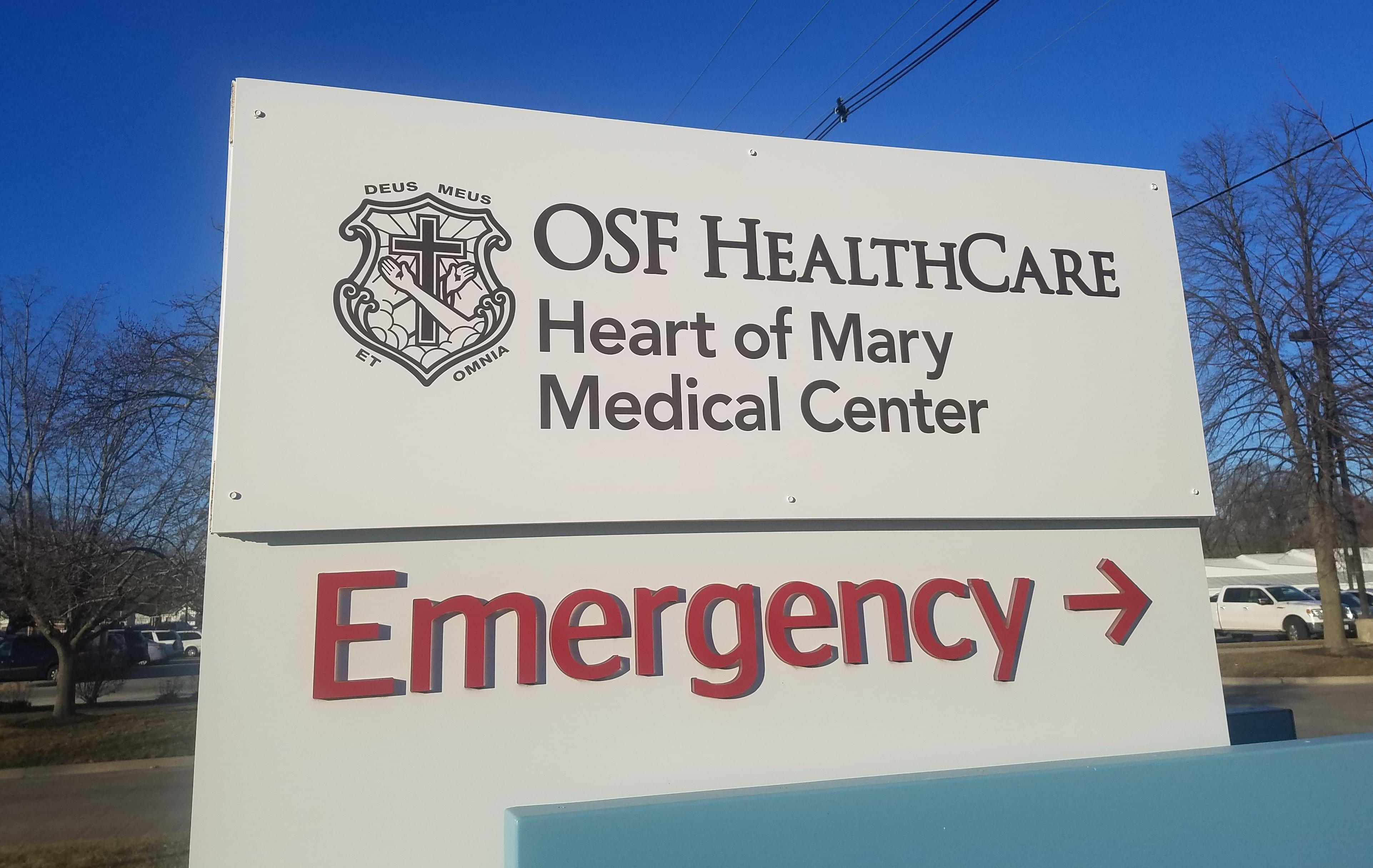 Sign for OSF Heart of Mary Medical Center.