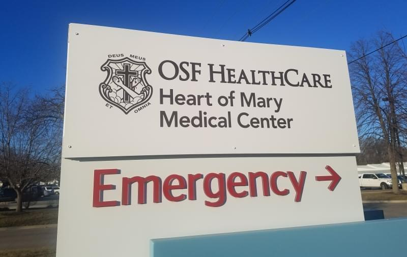 New sign for OSF Heart of Mary Medical Center.