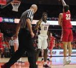 Illinois forward Greg Eboigbodin protests a foul call from referee DJ Carstensen during a 78-69 loss to Wisconsin.