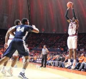Leron Black connects on a three-pointer in a 74-52 loss to Penn State Sunday evening.