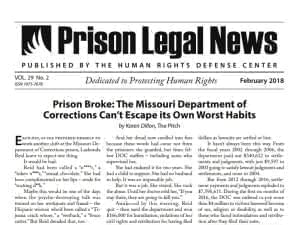 Screenshot of front page of Prison Legal News