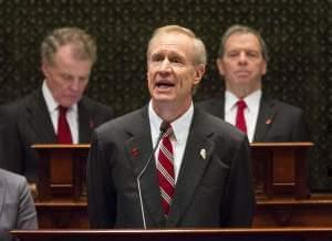 Governor Bruce Rauner delivers his 2018 budget address to the General Assembly.