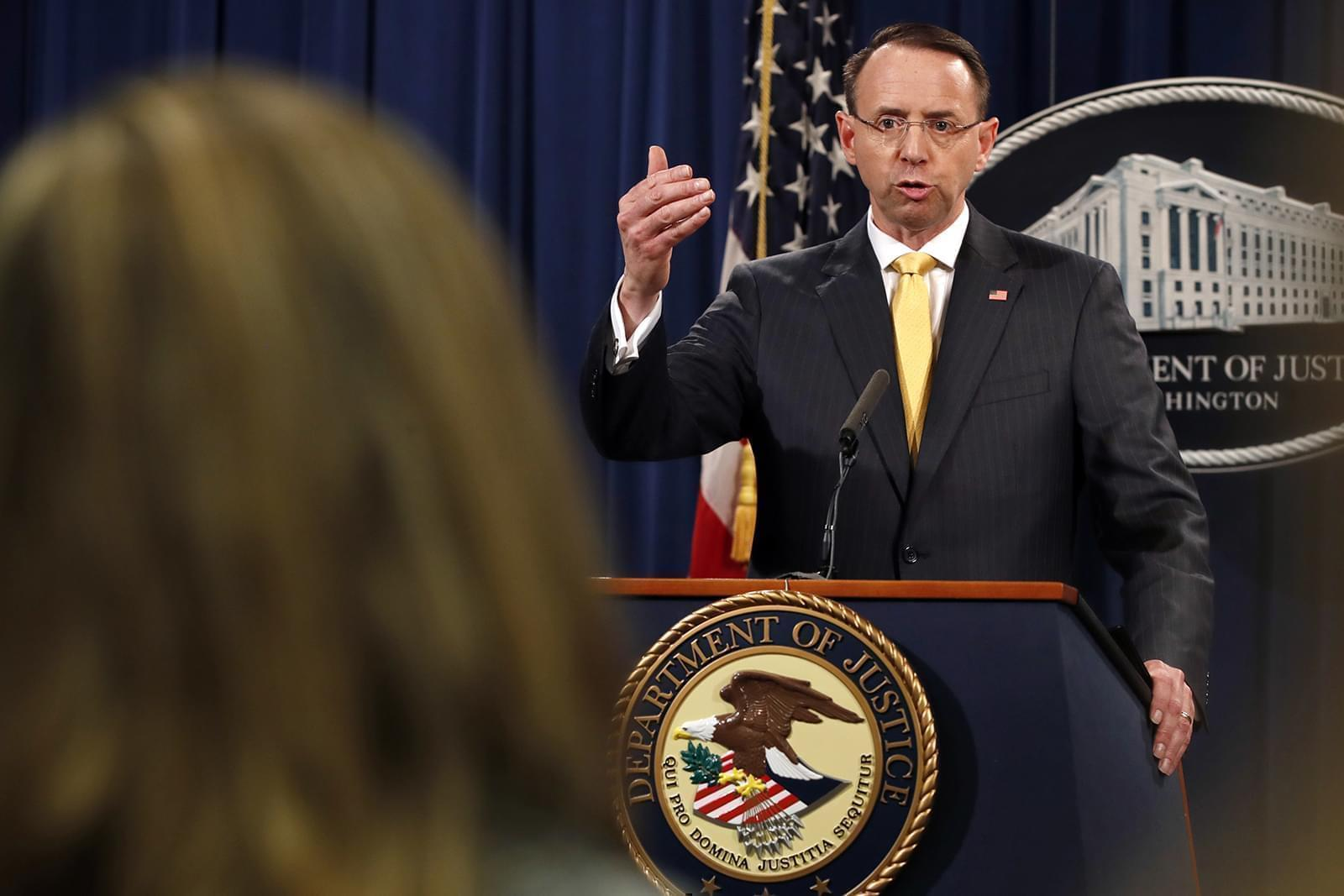 Deputy Attorney General Rod Rosenstein answers a question after announcing that the office of special counsel Robert Mueller announced a grand jury has charged 13 Russian nationals and several Russian entities, Friday, Feb. 16, 2018, in Washington.