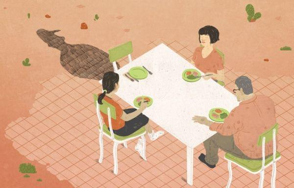 Illustration of a family sitting at a table