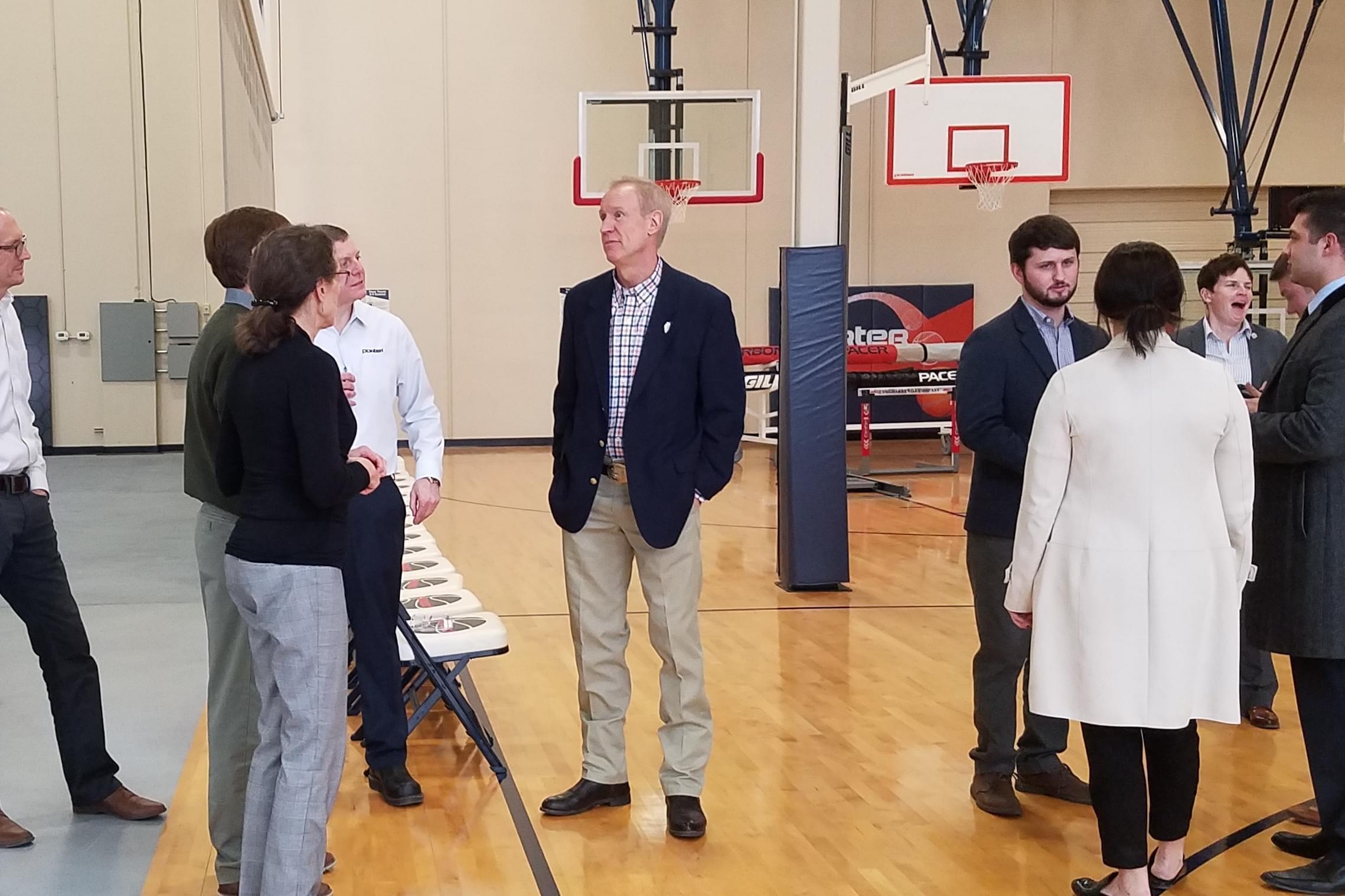 Gov. Bruce Rauner at Litania Sports Group.