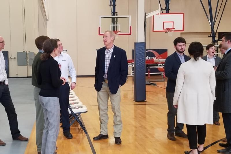 Gov. Bruce Rauner at Litania Sports Group.