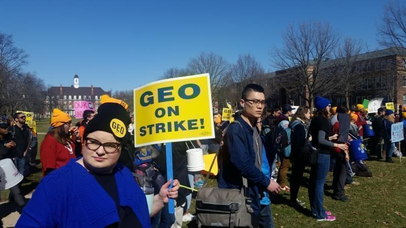 Hundreds of graduate student workers at the University of Illinois Urbana-Champaign campus rallied Feb. 26.