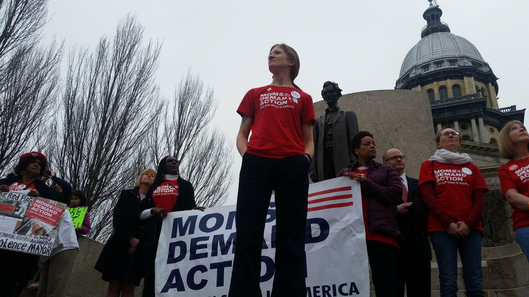 Lauren Quinn (center) Heads the Illinois Chapter of Moms Demand Action for Gun Sense in America.