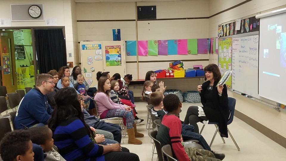 State Rep. Sue Scherer (D-Decatur), a former teacher, on a recent visit to a school.