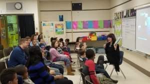 State Rep. Sue Scherer (D-Decatur), a former teacher, on a recent visit to a school.