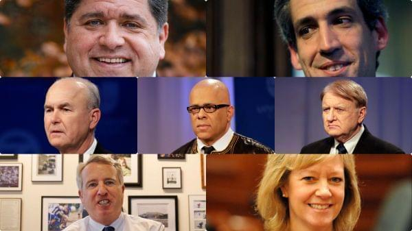 Pictures of the six Democrats and one Republican running to unseat incumbent Gov. Bruce Rauner
