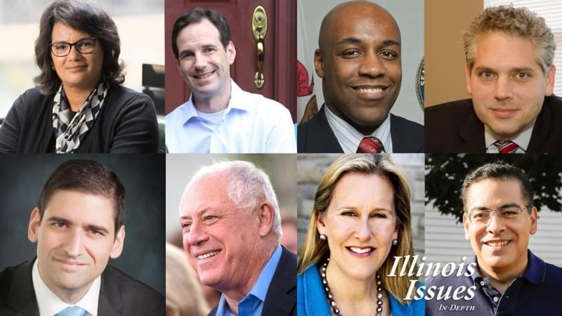 Democratic candidates for Attorney General. From left to right: Sharon Fairley, state Rep. Scott Drury, state Sen. Kwame Raoul, Aaron Goldstein, Renato Mariotti, former Gov. Pat Quinn, Nancy Rotering and Jessie Ruiz.