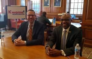 State Treasurer Mike Frerichs and Attorney General candidate Kwame Raoul.