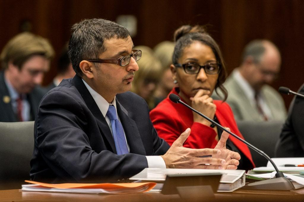 Director of the Illinois Department of Public Health Nirav Shah answers questions from the House and Senate's Committees on Veterans Affairs March 5, 2018 during a legislative hearing about Legionnaires' disease at Quincy Veterans Home.