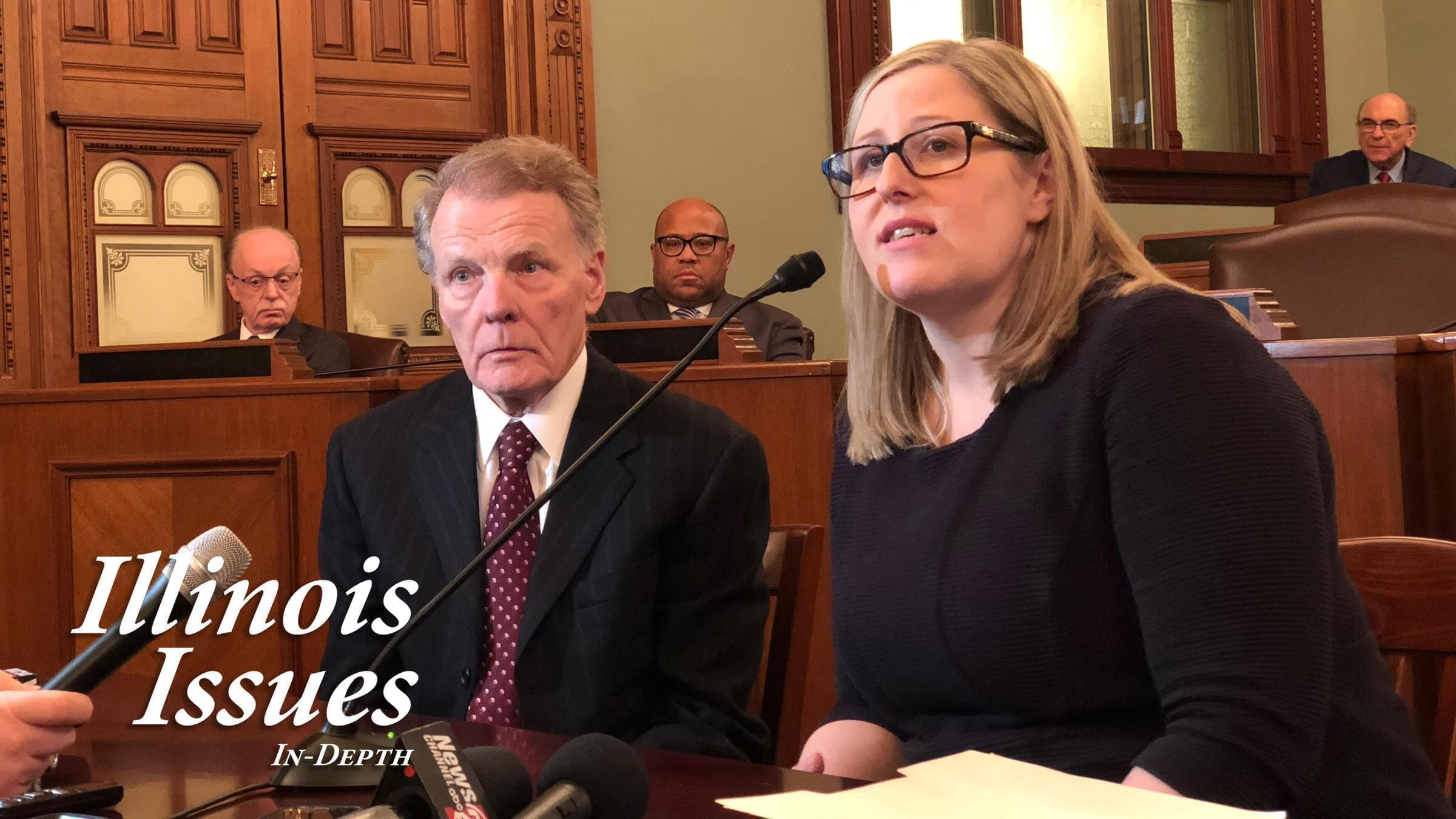 Speaker Michael Madigan and attorney Heather Wier Vaught respond to questions following campaign worker Alaina Hampton's filing of a sexual harassment charge with the Equal Employment Opportunity Commission.