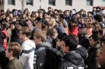 Students at the University of Illinois Laboratory High School participate in a nation wide school walk-out day to remember those killed in a mass shooting at a high school in Parkland, Florida last month. Students are also calling for more gun contro