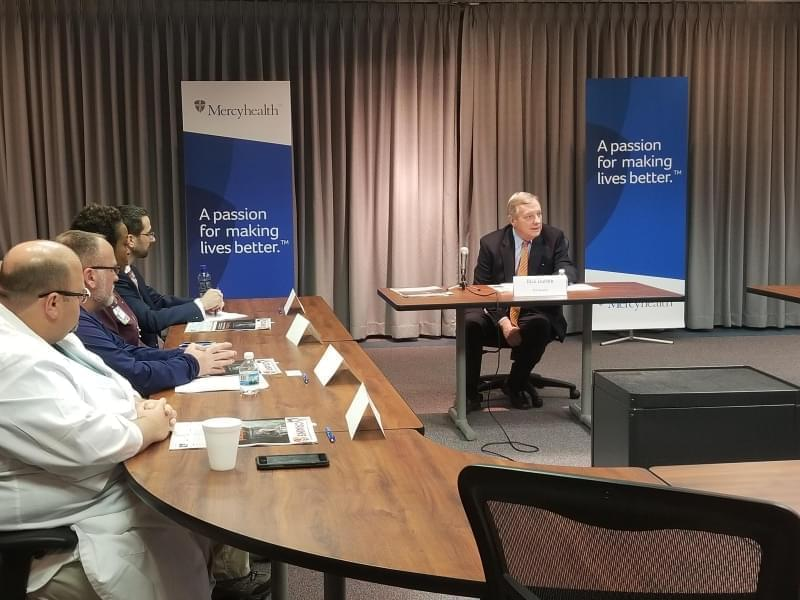 Senator Dick Durbin (D-IL) at a roundtable discussion in Rockford on opioids.