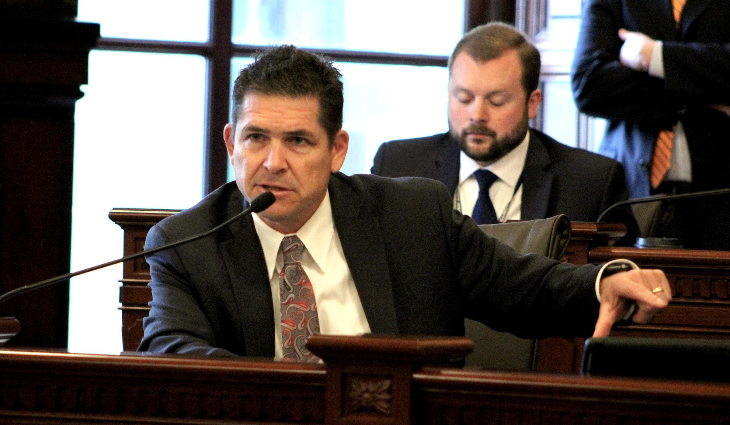 State Sen. Kyle McCarter, a Republican from Lebanon, speaks during an Illinois Senate committee hearing in April 2017.