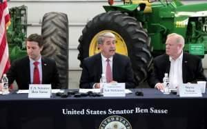 The U.S. Department of Agriculture's undersecretary for trade, Ted McKinney, speaks at a roundtable discussion Wednesday in Omaha, Nebraska, with U.S. Sen. Ben Sasse (left) and Nebraska Farm Bureau President Steve Nelson.