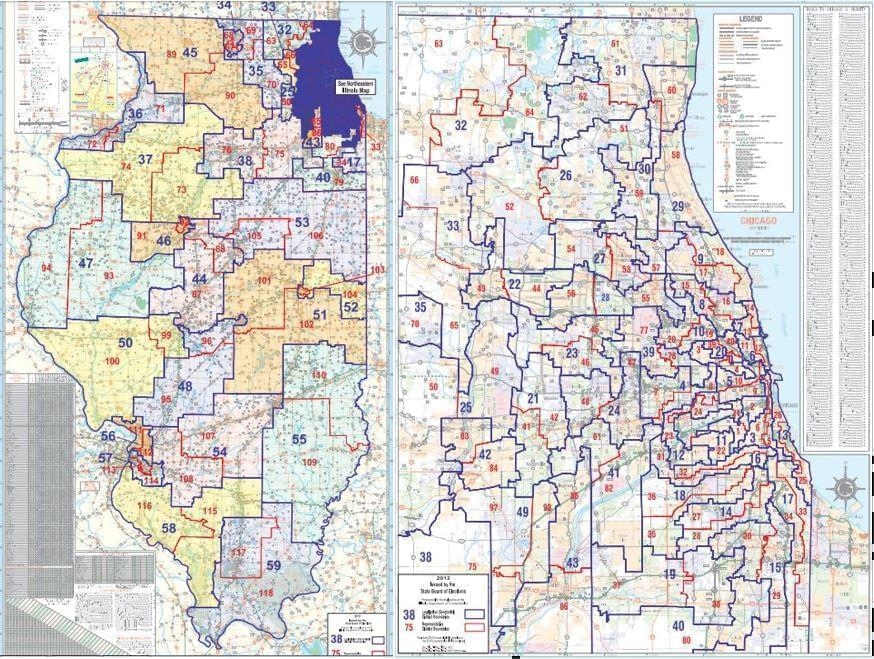 Illinois state legislative maps, drawn after the 2010 Census.