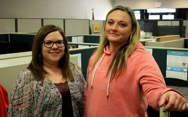 Erica Galvan (right) found a better job and is set to not receive SNAP benefits after enrolling in a Nebraska job-training program being overseen by case manager Michaela Funkhouser (left).