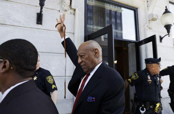 Bill Cosby leaving a courthouse in Pennsylvania after his conviction of drugging and molesting a woman.
