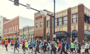 Runners in a past Illinois Marathon in downtown Urbana.