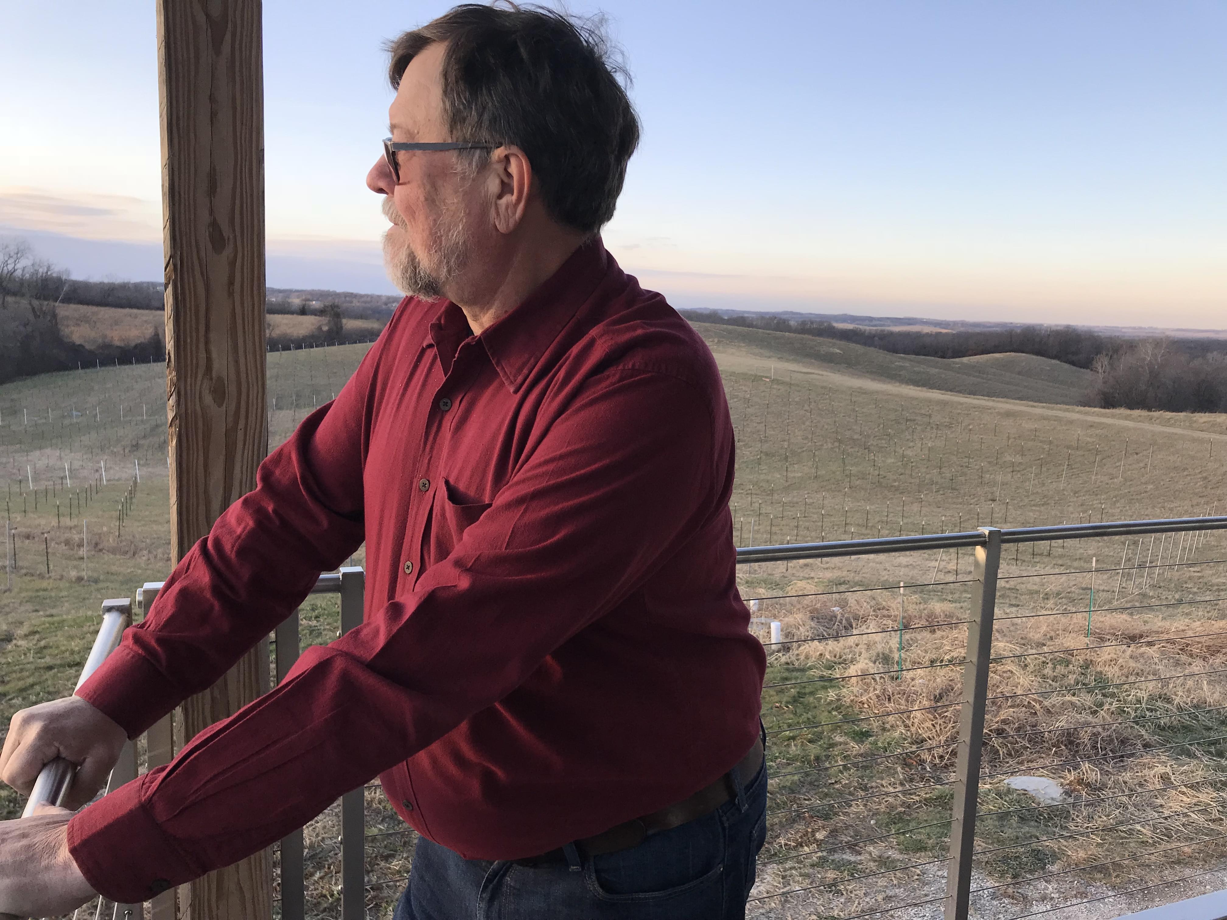 Jerry Eisterhold runs Vox Vineyards in Weston, Missouri. Here's working to save long-lost American wine grape varietals.