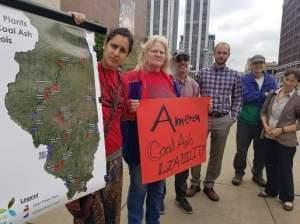 Ameren shareholders make their case outside the Peoria Civic Center.