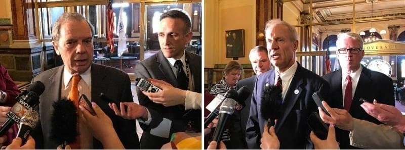 Left photo: Senate President John Cullerton on Tuesday, May 8, 2018. Right photo: Gov. Rauner, flanked by GOP leaders, Bill Brady and Jim Durkin on Tuesday, May 8, 2018.
