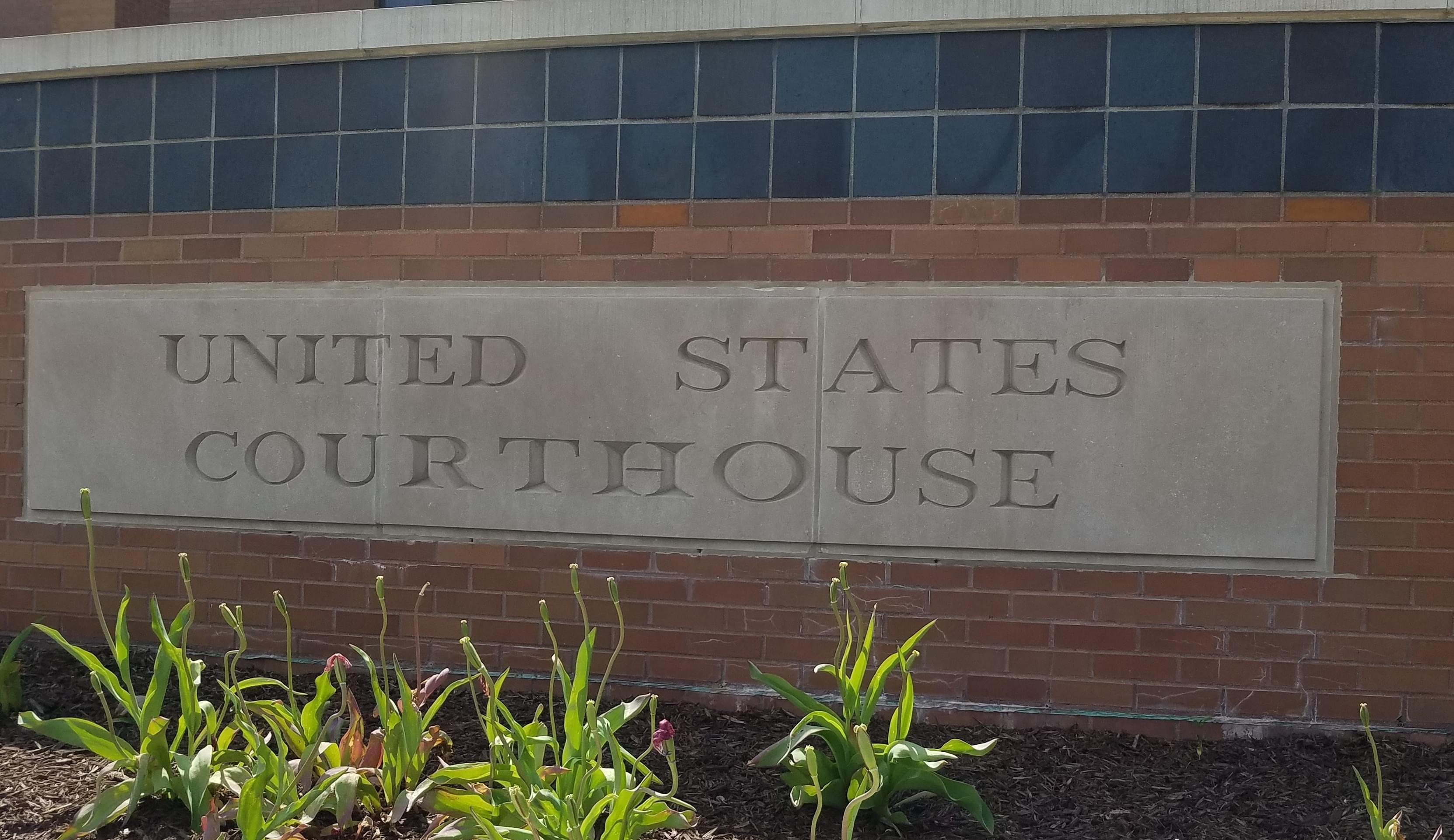 Detail of the exterior of the federal courthouse in Urbana.