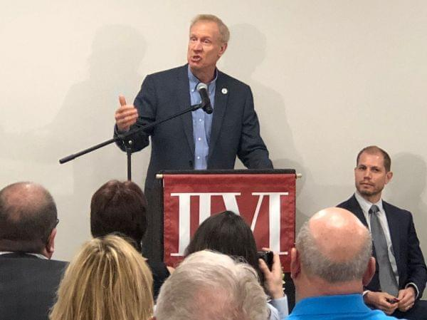 Governor Bruce Rauner at a facility for II-VI EpiWorks, a maker of semi-conductors.