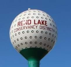 A water tower for the Rend Lake Conservancy District.